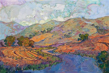 California wine country rolling hills painting in a modern impressionistic style, by Erin Hanson.