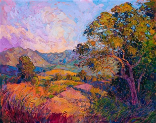 California wine country landscape oil painting in vivid color and thick brush strokes, by impressionist Erin Hanson.