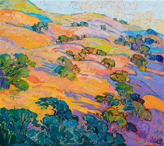 Napa Valley landscape oil painting of rolling hills, by Open Impressionism creator and artist Erin Hanson.