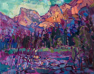 Yosemite small original oil painting for contemporary art collectors.