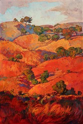 Red and burgundy rolling hills of Paso Robles, painted in oils by artist Erin Hanson