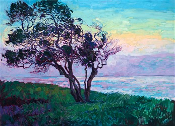 La Jolla Point coastal oil painting by local San Diego artist Erin Hanson