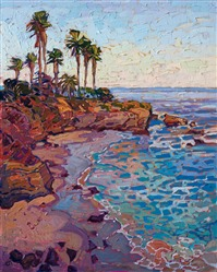 La Jolla Cove oil painting of coastal landscape, by local San Diego artist Erin Hanson