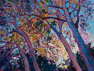 Petite painting of California eucalytpus light, by Erin Hanson
