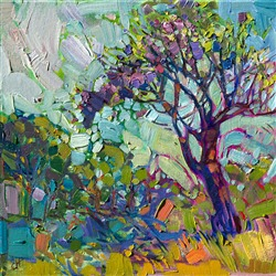 Small oil painting of a jacaranda tree in bloom, by Erin Hanson.