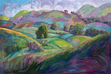 Paso Robles rolling hills impressionist oil painting by Erin Hanson