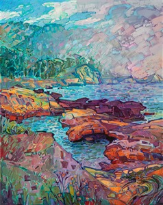Point Lobos impressionistic landscape oil painting by Erin Hanson