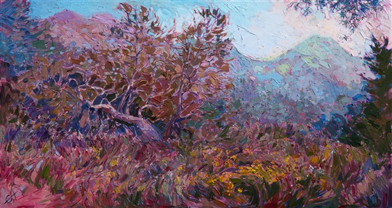 Contemporary California impressionism landscape oil painting for sale by artist Erin Hanson.