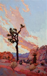 Joshua Tree National Park colorful oil painting in a modern impressionist style, by Erin Hanson
