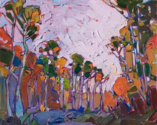 Oil painting of scenery in Cedar Breaks by contemporary artist Erin Hanson