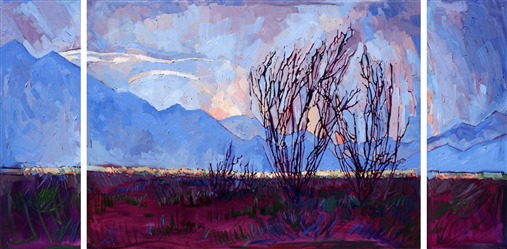 Ocotillo triptych oil painting by Erin Hanson