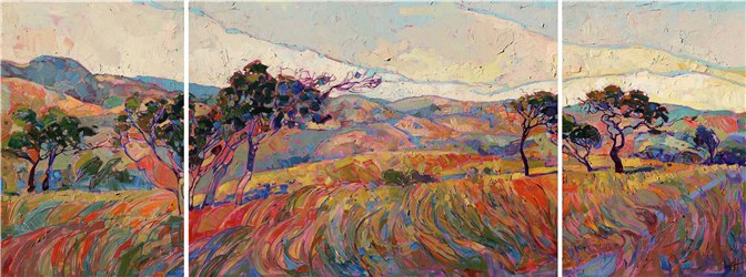 Triptych oil painting modern landscape artwork for sale by the artist Erin Hanson