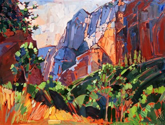 Zion Summer at Kolob Canyon, oil painting by Erin Hanson