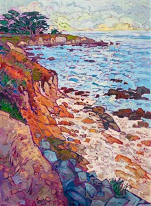 Pebble Beach oceanscape original oil painting by Erin Hanson