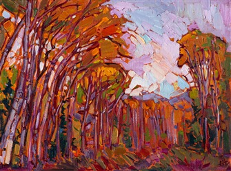 Contemporary impressionst oil painting of an aspen grove in southern Utah.
