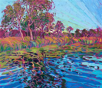 Lake Miramar San Diego local landscape oil painting for sale by artist Erin Hanson