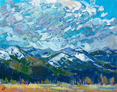 Montana landscape oil painting on a petite canvas, by modern impressionist Erin Hanson