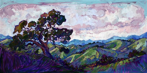 Purple hills landscape oil painting by Erin Hanson
