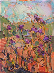 Petite oil painting 9x12 of California Thistles for sale by the artist, Erin Hanson.