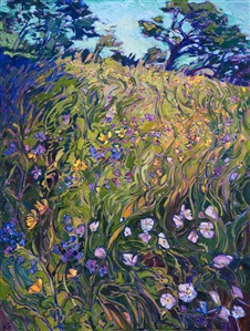 Collect impressionist artwork - wildflowers painting by modern impressionist Erin Hanson, from San Diego California