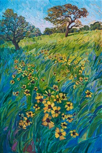 Texas wildflowers original oil painting by modern impressionist painter Erin Hanson.