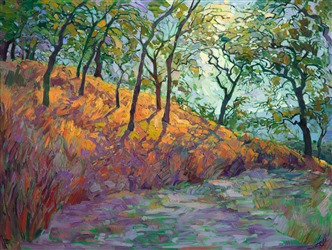 Modern painting that is evocative of Van Gogh expressionist landscape