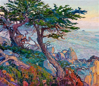 Pebble Beach cypress tree Monterey coastal oil painting by modern impressionist Erin Hanson