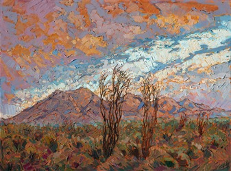 California desert oil painting landscape for sale by the artist, Erin Hanson