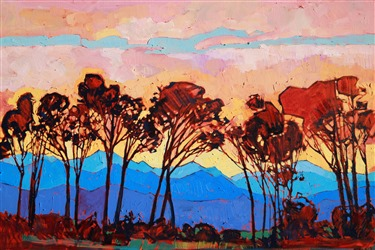 Geometric, abstracted landscape oil painting by Erin Hanson