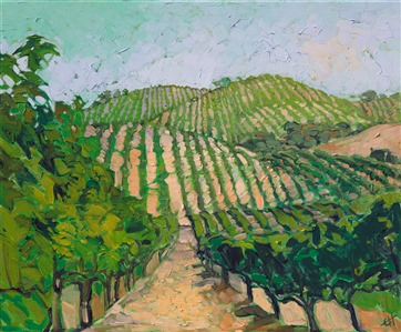 Oil painting in green hues of California vineyards with rolling hills in a impressionistic style