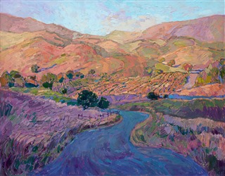 Rolling hills, California wine country oil painting by Erin Hanson, in a contemporary impressionism style.