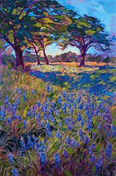Texas bluebonnets original oil painting for sale by American impressionist Erin Hanson