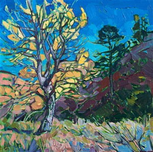 Cottonwoods zion painting from Zion art museum 2017 by Erin Hanson