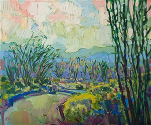 Joshua Tree National Forest ocotillo landscape painting by Erin Hanson