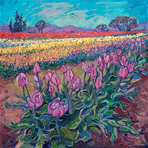Oregon tulip fields orignal oil painting for sale by artist Erin Hanson