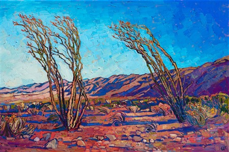 California ocotillo cacti blooming in Joshua Tree National Park, original oil painting by Erin Hanson