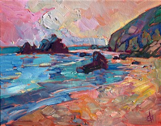 Peach Sands, oil painting on board by Erin Hanson