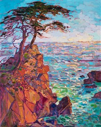 Rainbow cypress trees on Monterey's 17 mile drive, original oil painting by Erin Hanson