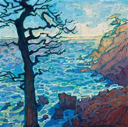 Oil painting of Pebble Beach for sale by California impressionist Erin Hanson