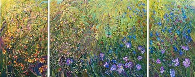 Modern impressionist painting of Texas bluebonnets and wildflowers, by Erin Hanson.