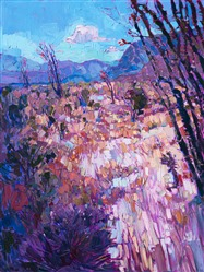 Ocotillo desert wildflowers contemporary impressionist oil painting by Erin Hanson