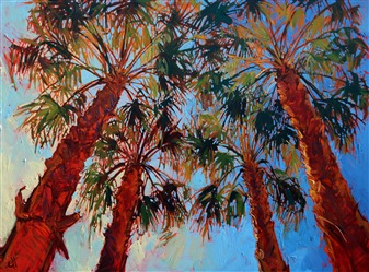 La Quinta Palms, iconic painting in oils by landscape painter Erin Hanson