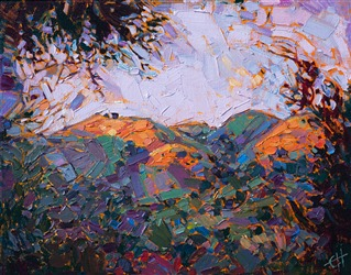 Carmel Valley rolling hills landscape oil painting by Erin Hanson.
