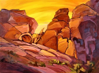 Vibrant oil painting landscape of Valley of Fire, by Erin Hanson