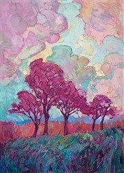 Magenta Oaks - Texas hill country oil painting by modern impressionist Erin Hanson.