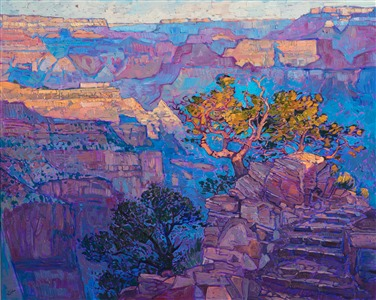 Grand Canyon dawn oil painting by modern landscape painter Erin Hanson
