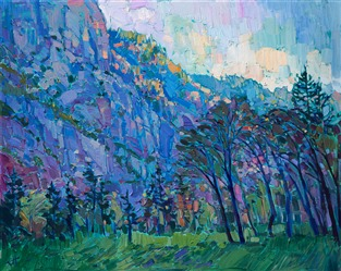 Yosemite landscape painting in a contemporary impressionist style, by Erin Hanson.
