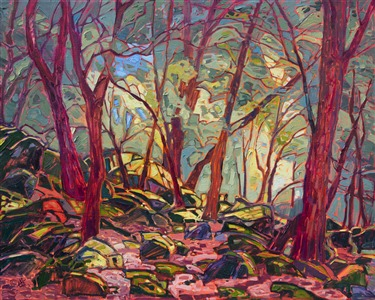 Mossy oak trees in a California impressionist landscape, by Erin Hanson