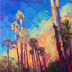 Abstract impressionist landscape oil painting of palm springs, by Erin Hanson