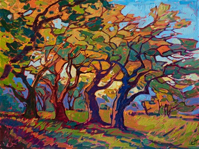 Petite oil painting for sale by modern impressionist master Erin Hanson